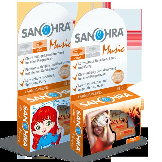 SANOHRA music Ohrstöpsel sind in zwei Standardgrößen erhältlich: Erwachsene und Kinder